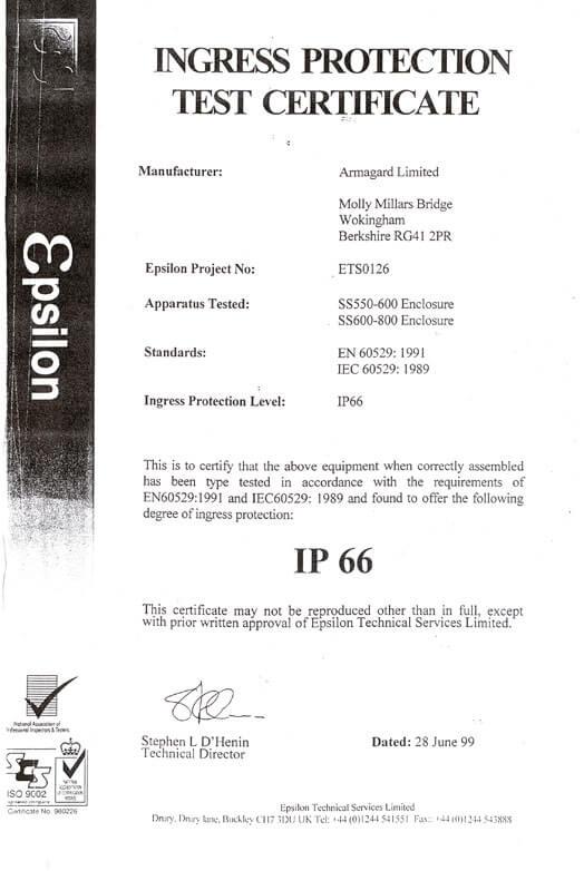 Certificado de los armarios IP66
