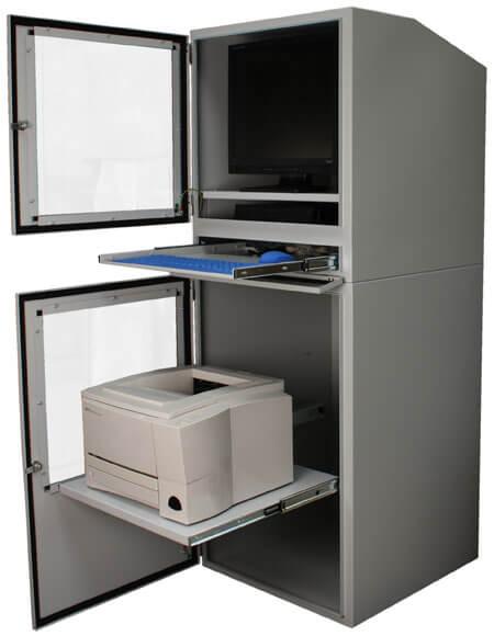 Armario industrial para computadora con ambas puertas abiertas