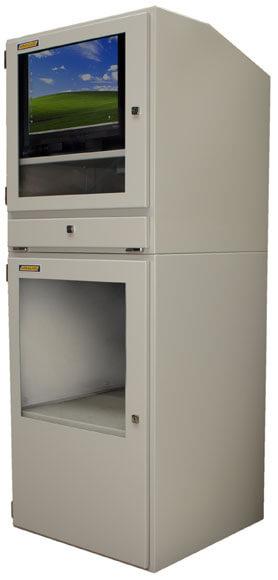 Armario industrial para computadora vista lateral derecha con puertas abiertas