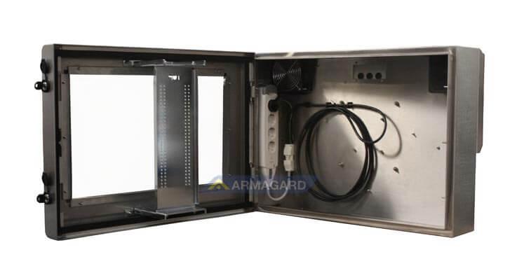 Armario LCD resistente al agua – vista lado derecho con puerta abierta | SDS-24