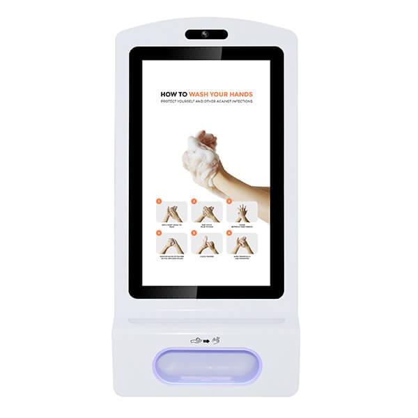 pantalla digital con dispensador de gel desinfectante - Vista frontal