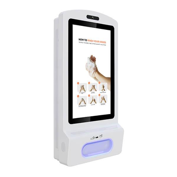pantalla digital con dispensador de gel desinfectante - Visión correcta