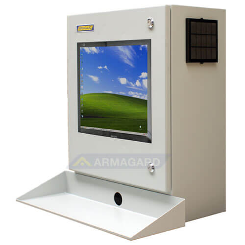 Armario PC Compacto PENC-300 con bandeja para teclado vista lado Izquierdo.