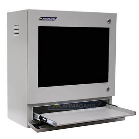 Armario PC PENC-400 – vista izquierda con bandeja para teclado abierta