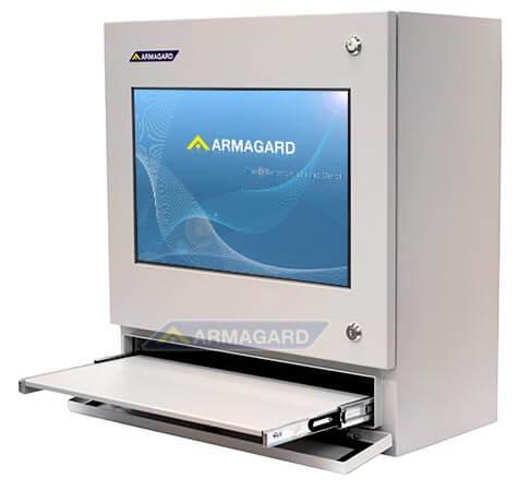 PC táctil para planta industrial, vista derecha con bandeja abierta | PENC-550