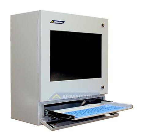 PC táctil para planta industrial – Vista lateral del armario con bandeja de teclado abierta | PENC-550