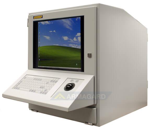 Armario para ordenador PENC-800 vista lateral con teclado trackball opcional.