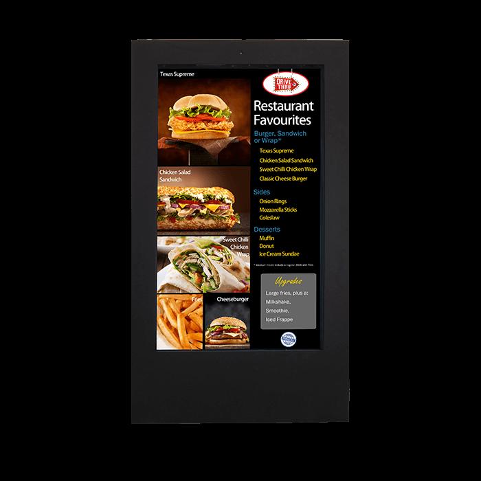 Señalización Digital Exterior Movible vista frontal con pantalla