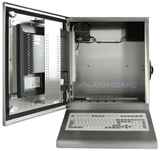 Armario pc compacto inox SENC-300 con teclado integrado - vista frontal puerta abierta