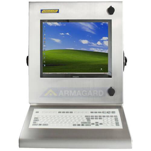 Armario pc compacto inox SENC-300 con teclado integrado - vista frontal