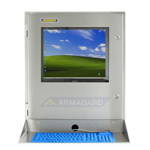 Armario con teclado inoxidable SENC-700 - vista frontal con bandeja para teclado y ratón