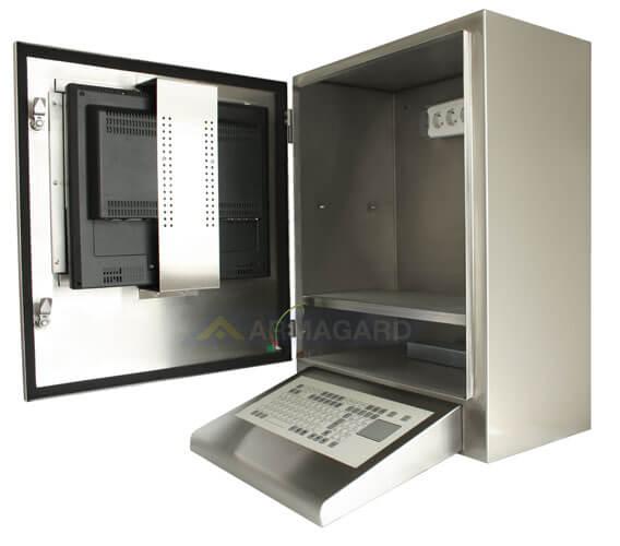 Armario con teclado inoxidable SENC-700 con teclado integrado - vista lateral puerta abierta