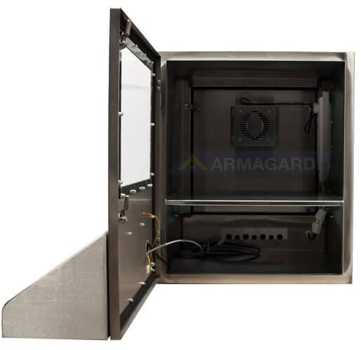 Armario ordenador inox SENC-900 puerta frontal abierta | Senc-900