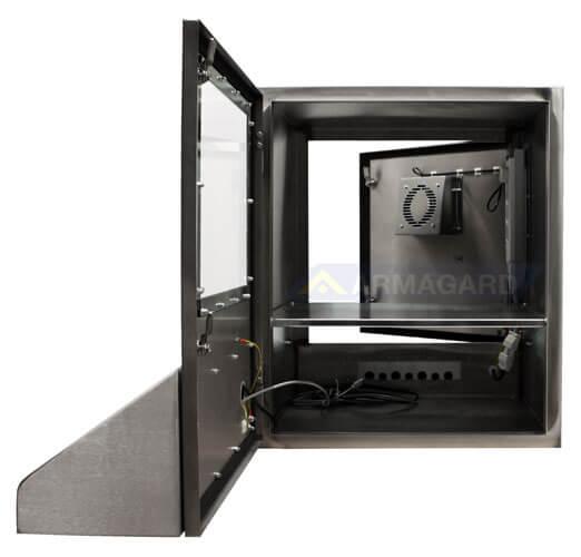 Armario ordenador Inox puertas abiertas | SENC-900
