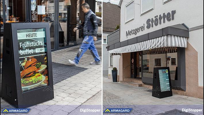 La Serie DigiStopper in situ en una tienda y restaurante