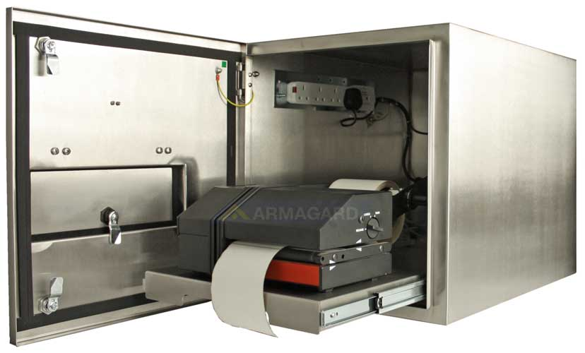 armario inox impresora zebra - mostrando bandeja para la impresora