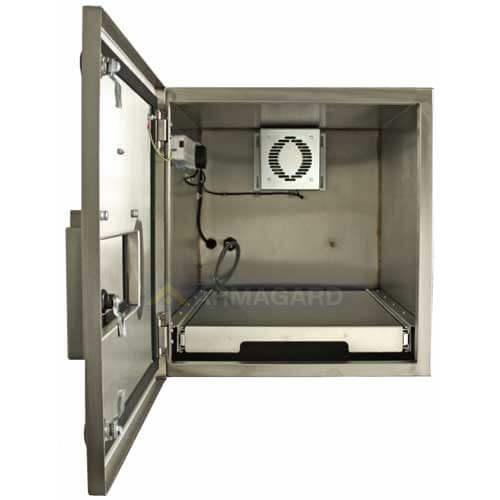 armario inox impresora zebra puerta frontal abierta