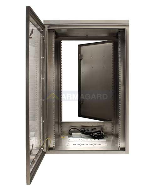 Armario rack para servidores - puertas frontal y trasera abiertas