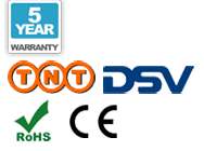 5 year warranty, TNT delivery, DSV delivery, CE, and RoHS logos