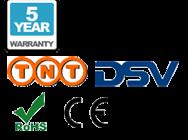 5 años de garantía, envíos por TNT , DSV, CE, and RoHS logos