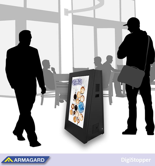 cartelería digital portátil con batería y características de seguridad