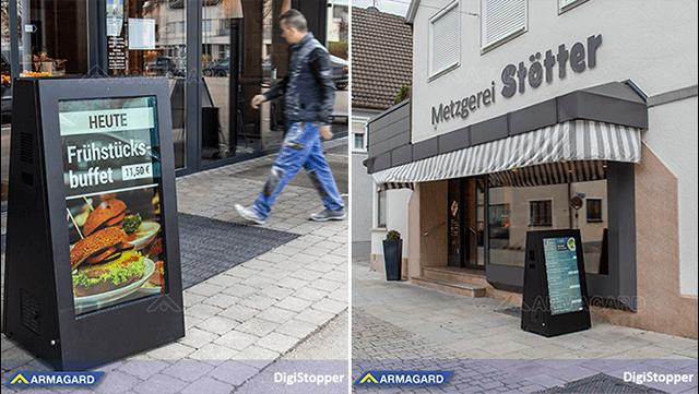 carteles digitales portátiles para exteriores DigiStopper de Armagard