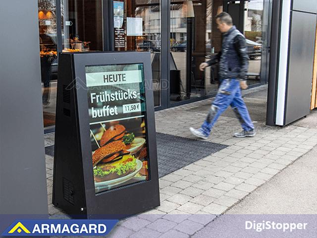 Los carteles digitales móviles para exteriores de su cafetería
