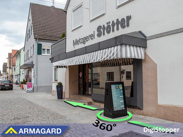 sistema de cartelería digital con batería de doble cara para atraer a los clientes que caminen en ambos sentidos